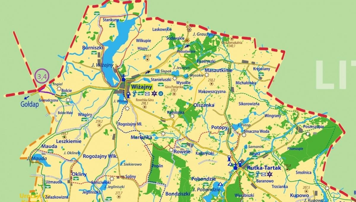 mapa z wrysowanymi ścieżkami rowerowymi w gminie Wiżajny - Kliknięcie spowoduje wyświetlenie powiększenia zdjęcia
