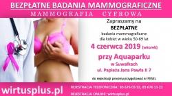 Zaproszenie na Bezpłatne badania mammograficzne - mammografia cyfrowa