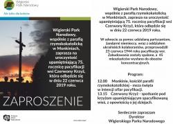 Zaproszenie na uroczystość upamiętniającą 75. rocznicę pacyfikacji wsi Czerwony Krzyż