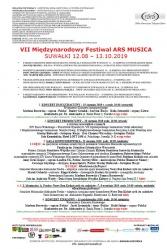 VII Międzynarodowy Festival ARS MUSICA- Suwałki 12.08-13.10.2019