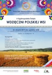 """Zaproszenie na II Ogólnopolskie Święto """"Wdzięczni Polskiej Wsi"""""""
