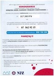 Koronawirus - kontakt do najbliższej stacji sanitarno-epidemiologicznej oraz najbliższegpo oddziału zakaźnego