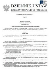 Rozporządzenie Ministra Zdrowia z dnia 20.03.2020 r. w sprawie ogłoszenia na obszarze Rzeczypospolitej Polskiej stanu epidemii